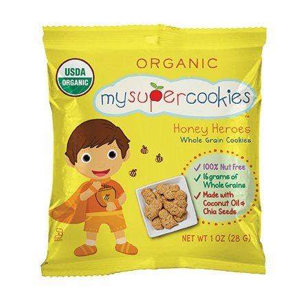 MySuperCookies, 100ct-1oz (Bulk Snacks, Organic, Nut Free, Kosher, Whole Grain) (Honey Heroes)