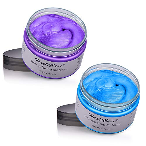 HailiCare Hair Wax 4.23 oz, Professional Hair Pomades, Natural Matte Hairstyle Max for Men Women (Purple+Blue) (Color: Purple+Blue)