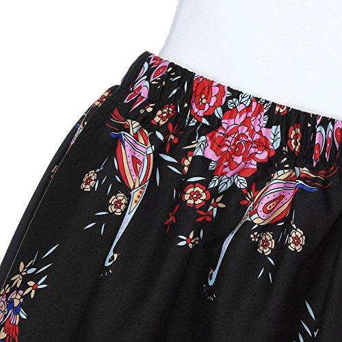 Robe Bohme Sunenjoy Jupe Haute Fleur Vacances Imprim t Longue Mer Taille Jupe Noir lgante Chic Plage Femme Fille pour Maxi Plisse rwqHrv80