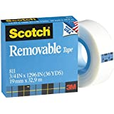 Scotch Removable Tape 811, 3/4 x 1,296-Inches, 1-Inch Core (811)