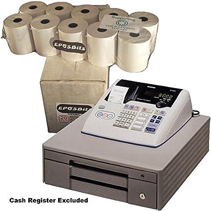 eposbits® marca rollos para Casio TE-M80, TEM80 te m80 TEM-80, TM80 – 80 TM-80 caja registradora – 20 rollos: Amazon.es: Oficina y papelería
