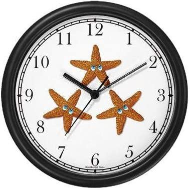 Three Seastars Wall Clock by WatchBuddy Timepieces Black Frame