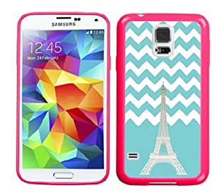 Noarks « Samsung Galaxy S5 Case Slim Fit Flexible TPU Jelly Premium Rugged Anti Shock Protection (Chevron Teal Eiffel Tower)