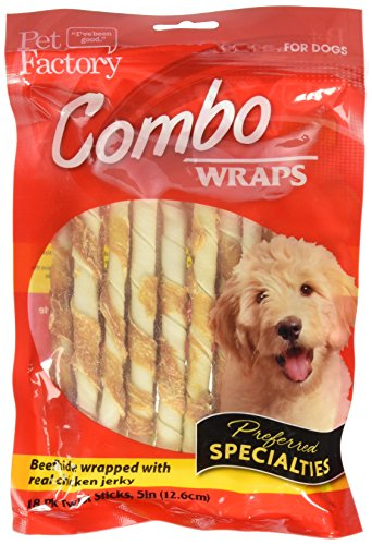 """51sGqqtZGEL - Pet Factory Rawhide Twist Sticks Wrapped with Chicken Meat Chews for Dogs (18 Pack), Small/5"""""""