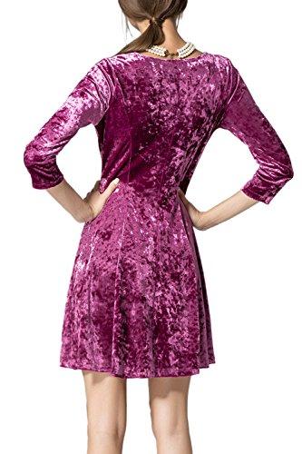 Elegante vestido fiesta manga 3/4 A línea de las mujeres Pink