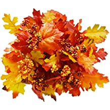 Bundle of 3 Artificial Maple and Oak Bushes with Berries 6 Stem 14 Inch Fall Leaf Decor