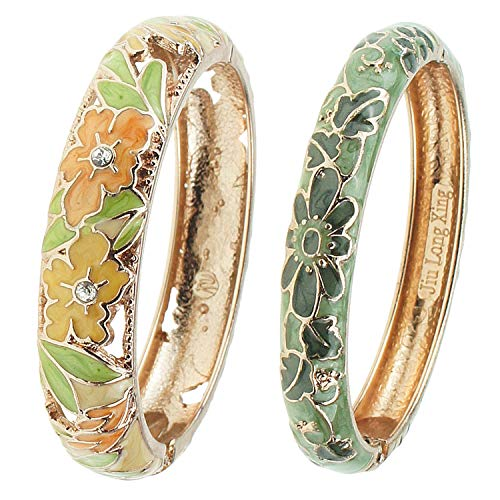 UJOY Vintage Jewelry Cloisonne Handcrafted Enameled Gorgeous Peony Rhinestone Filigree Golden Cuff Bracelet Bangles Gifts 88A12 Yellow Green