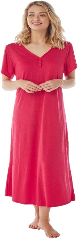 Navy Floral Jane Brooke/® Ladies Plus Size Nightie//Nightdress Short Sleeves Long Length Purple Red Blue
