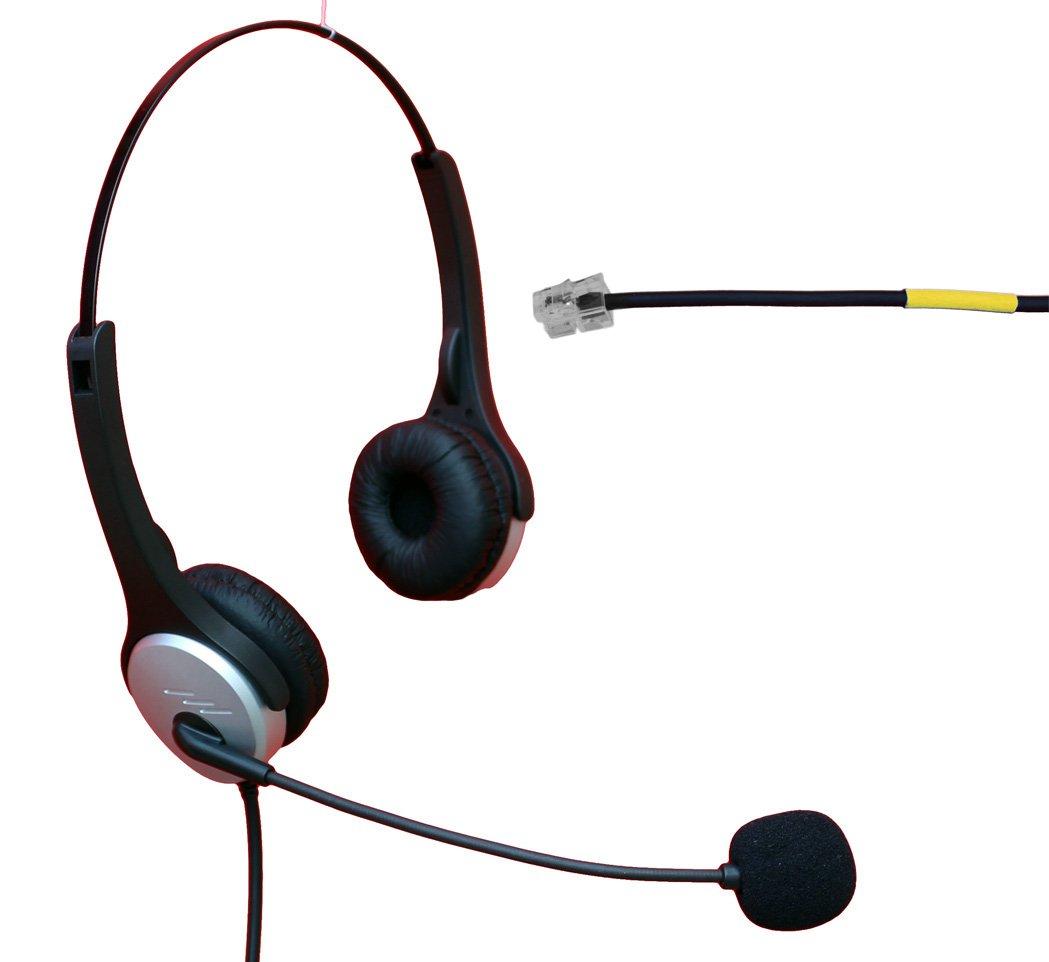 Voistek Binaural Call Center Handsfree Telephone Headphone Headset with Noise Cancelling Microphone for Cisco 7902 7905 & Panasonic KX-T series IP Avaya Yealink Snom Office IP Phones (H20KXT)