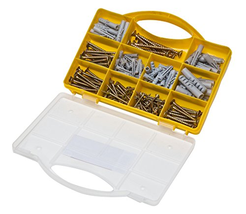 Brackit 206 Pc Screws & Anchors Set | Large Assorted Drywall Plugs & Screws for Mounting, Repairing, Building, Secure Drilling (83 Wallplugs, 123 Chipboard Screws)