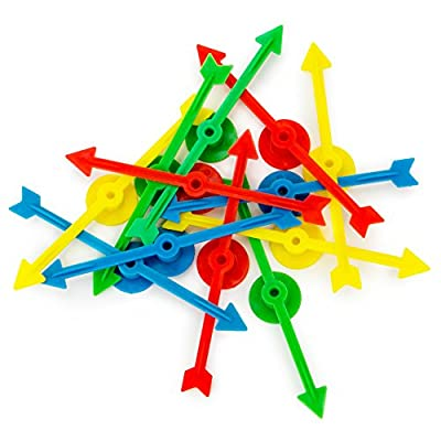 12-pack of Arrow Game Spinners in 4 Rainbow Colors, 3 Arrows Per Color – Assorted Set of 4-inch Plastic Spinner Game Pieces for DIY Board Games, Replacement Pieces, Projects & Classroom Activities: Toys & Games