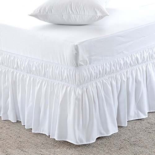 MEILA Bed Skirt Three Fabric Sides Elastic Wrap Around Dust Ruffled Solid Bed Skirts Easy On/Easy Off 16 Inch Tailored Drop, White, Queen/King