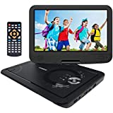 "YENOCK Portable DVD Player with 10.1"" 1024×600 High Resolution Swivel Screen, Full Format CD Player Supports SD Card/USB/CD/DVD with Car Headrest Holder, Rechargeable Battery Car & Wall Charger"