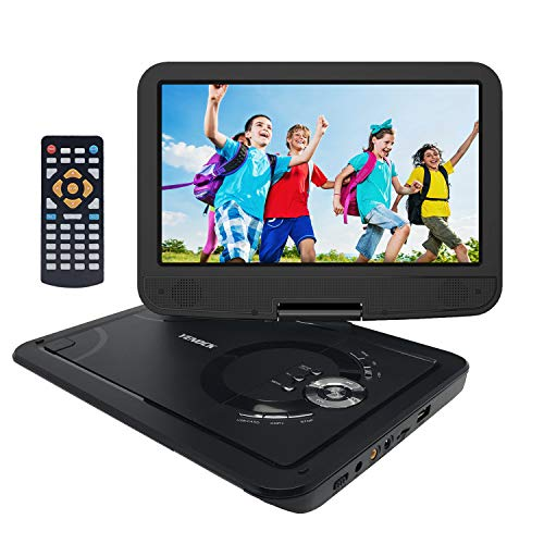 YENOCK Portable DVD Player with 10.1'' 1024×600 High Resolution Swivel Screen, Full Format CD Player Supports SD Card/USB/CD/DVD with Car Headrest Holder, Rechargeable Battery Car & Wall Charger by YENOCK