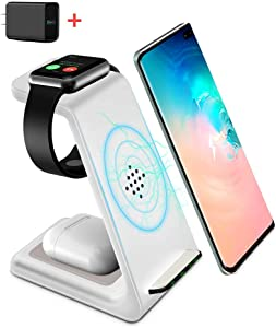 Wireless Charging Stand, GEEKERA 3 in 1 Wireless Charger Fast Charging Dock Station for Apple Watch 6 SE 5 4 3 2, Airpods 2/Pro, iPhone 12/12PRO/11/11 Pro/X Qi-Certified Phones(with QC 3.0 Adapter)