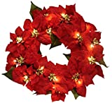 "22"" Pre-Lit Red Poinsettia Flower Christmas Wreath #MC-9415"