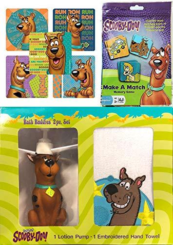 Match Up Scooby-Doo! Card Game Matching Jam Fun Time Kids Cartoon Character Buddy Set Zoinks! Soap Figure Dispenser & Bath Hand Towel + Action Stickers Bundle (Soap Bath Dispenser)