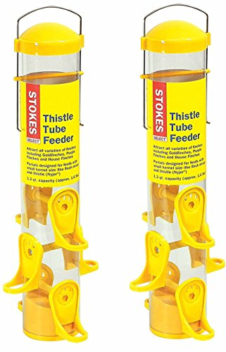 (2 Pack) Stokes Select Thistle Tube Bird Feeder with 6 Feeding Ports, Yellow, 1.6 Pound Capacity