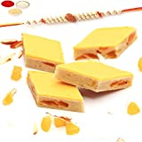 Ghasitaram Gifts Rakhi Gifts for Brothers Rakhi Sweets - Mango Fruit Kaju Katli 200 Gms with Rudraksh Rakhi