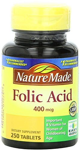 Nature Made Folic Acid 400mcg, 250 Tablets Pack of 5