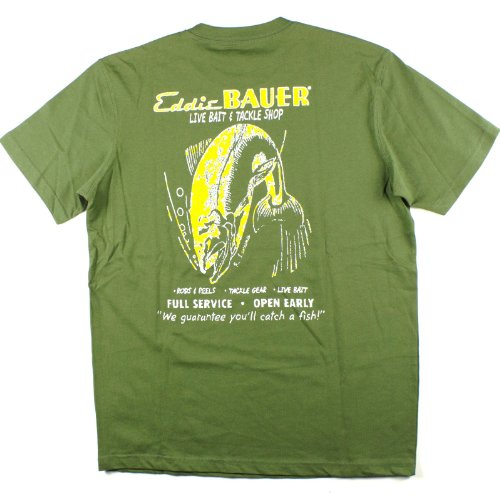 Mens Eddie Bauer Bait & Tackle Tee T-Shirt Medium Army Green