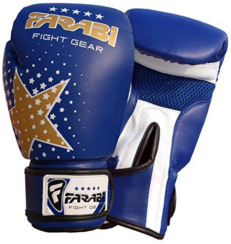 Farabi Kids Boxing Gloves 6-oz Blue Kick Boxing Muay Thai Training Junior 4-9 Years