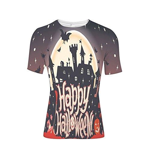 (T-Shirt for Men,Happy Halloween Typography Stars Bats Moon,3D)
