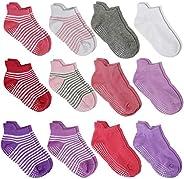 WELMOR Anti Slip Non SkidAnkle Socks With Grips for Baby Toddler Kids Boys Girls 12 Pairs