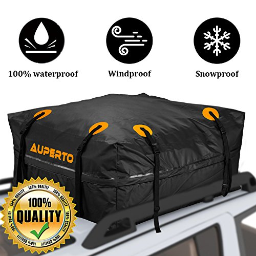 (AUPERTO Rooftop Cargo Carrier Bag Waterproof - [Upgraded Version] 15 Cubic Feet Soft Cargo Bag Luggage Carrier for Cars Vans and SUVs Roof Top Storage Travel Bag)