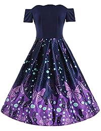 Nufelans Fashion Women Butterfly Print Short Sleeve Color Block Off Shoulder Zippers Dresses Patchwork Draped Dress