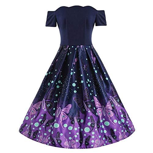 iZHH Party Dress Women Butterfly Print Color Block Off Shoulder Patchwork Draped(Purple,S(US)) -
