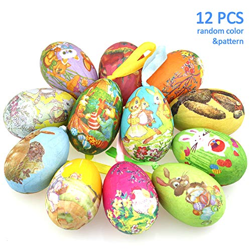 Eggs Vintage Easter - 12 Pack Foam Easter Bunny Egg Ornaments Home Decorations - Decorative Hanging Easter Eggs for DIY Crafts and Assorted Easter Decorations Vintage Style Paper Mache