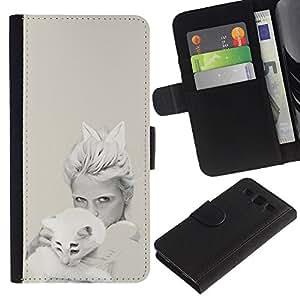 KLONGSHOP // Tirón de la caja Cartera de cuero con ranuras para tarjetas - Blanco Arte pop del gato - Samsung Galaxy S3 III I9300 //