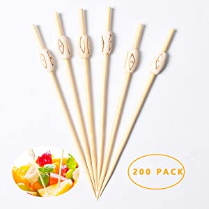 Bamboo Cocktail Picks Skewers for Appetizers Fruit Kabobs Toothpicks Sticks Party Supplies - 200 Pack