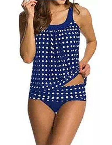 Mujeres de dos piezas traje de baño Tankini traje de baño de sistemas superior + inferior, Azul, EU L/CN XL