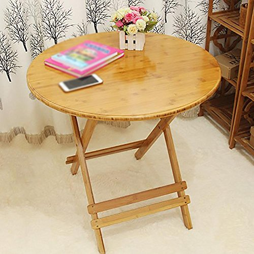 KSUNGB Folding table Writing desk Dining table Round table Solid wood Foldable Small table, Wood color, 90cm by KSUNGB