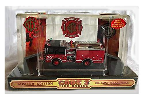 CODE 3 LIMITED EDITION DIE CAST (1/64 SCALE), CHICAGO FIRE DEPT, ITEM# 12316, RED WITH BLACK, AND METALIC SILVER