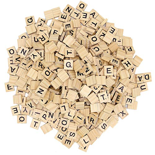Zcaukya 300 Pcs Wooden Scrabble Tiles,Wood Letter Tiles,Scrabble Tiles for Crafts A-Z Capital Letters for Crafts, Pendants, Spelling (300) (Scrabble Letters For Crafts)