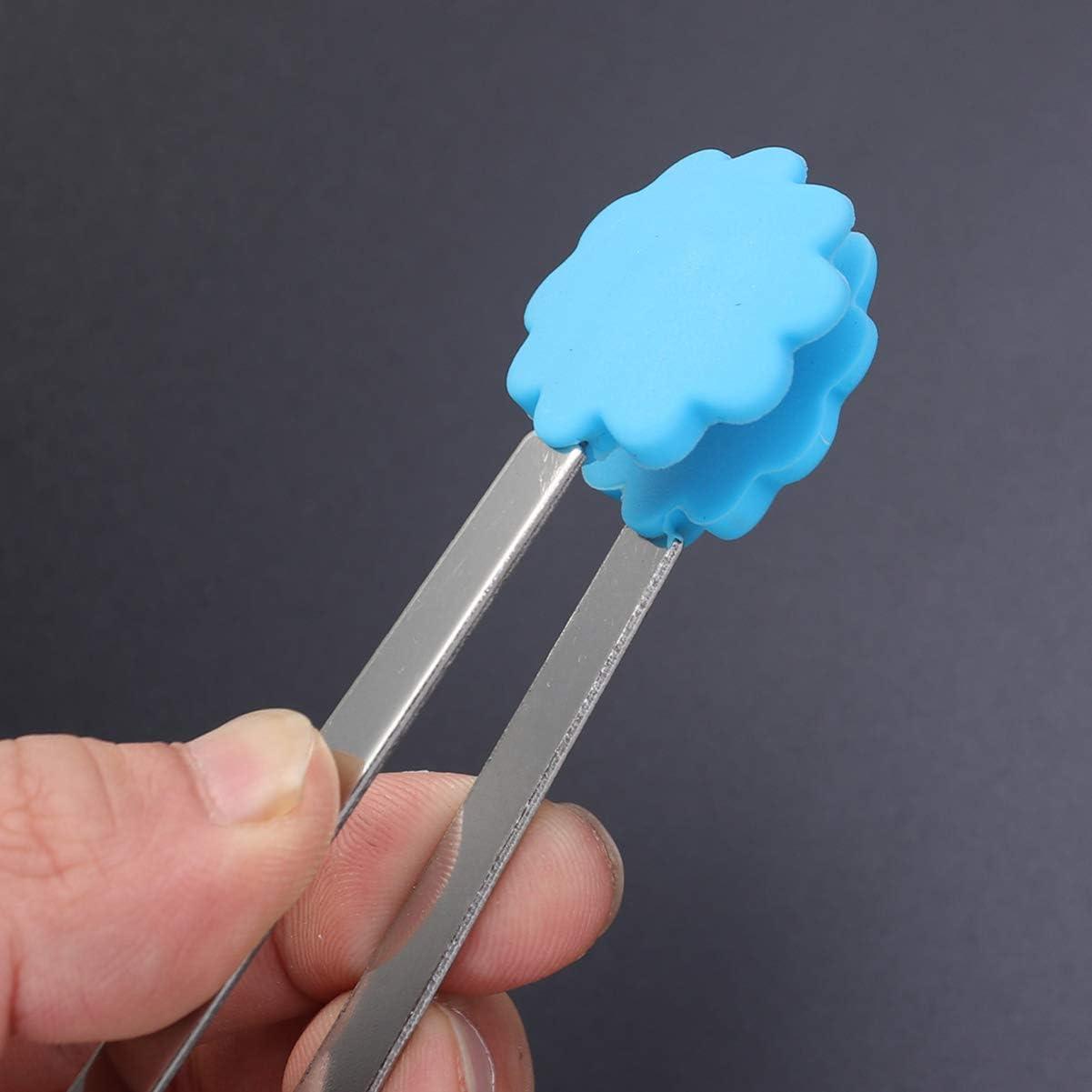 UPKOCH 7 piezas pinzas de comida pinzas de cocina de acero inoxidable pinzas de silicona para cocinar pastel de hielo ensalada de pan buffet estilo aleatorio