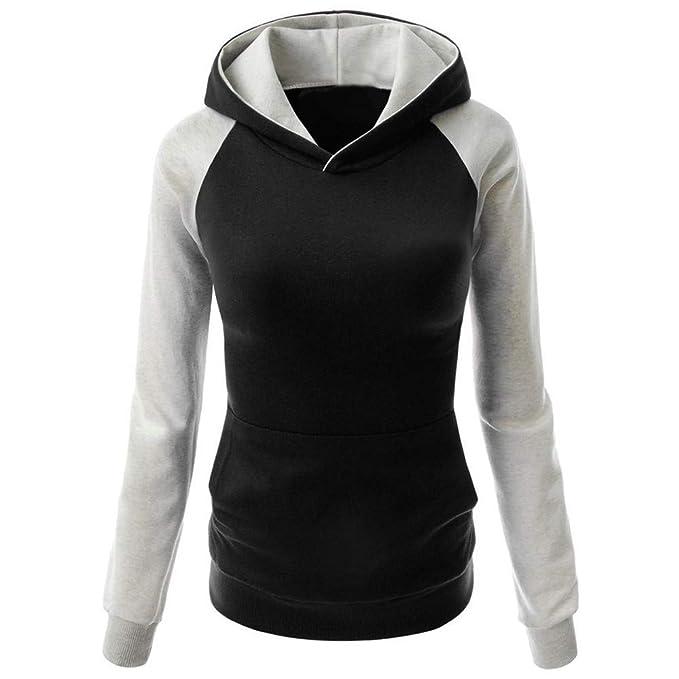 Mujer Sudadera, Bloque de Color Sudaderas con Capucha Cortas para Mujer Camisetas Mujer Blusa Tops Sudadera Mujer: Amazon.es: Ropa y accesorios