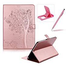 Flip Case for New iPad 9.7 2017,Smart Leather Cover for New iPad 9.7 2017,Herzzer Retro Pretty Tree Butterfly Cat Design Wallet Folio Case Full Body PU Leather Protective Stand Cover with Inner Soft Silicone Shell for New iPad 9.7 2017 + 1 x Free Pink Cellphone Kickstand + 1 x Free Pink Stylus Pen - Rose Gold