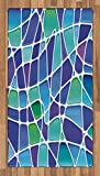 Ambesonne Fractal Area Rug, Ceramic Mosaic Style Forms Trippy Abstract Vivid Figures Display, Flat Woven Accent Rug for Living Room Bedroom Dining Room, 2.6 x 5 FT, Purple Jade Green Royal Blue