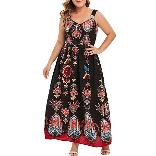 Goddessvan Women Plus Size Chiffon Printed Dress Casual V-Neck Sleeveless Asymmetrical Maxi Long Dress Black