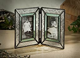 J Devlin Pic 122-2 Stained Glass Double Hinged Photo Frame Holds Two 2x3 Pictures Sage Green