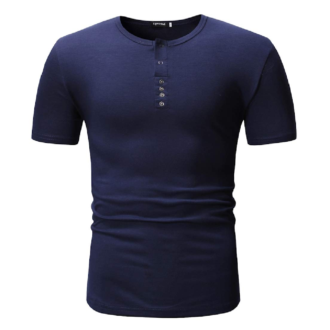 CRYYU Men Crewneck Stylish Short Sleeve Solid T-Shirts Henley Shirts