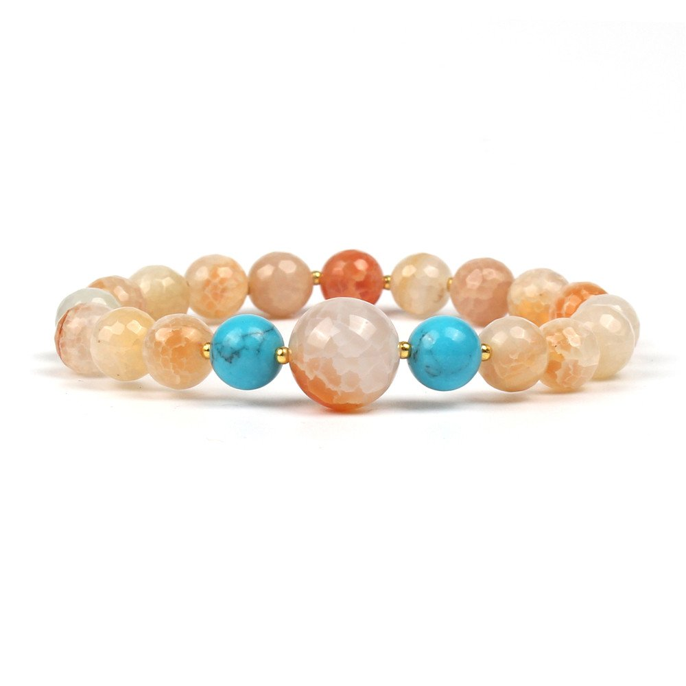 Shinus Mens Womens Mala Beads Chakra Bracelet Metal Charm Bohemia Gemstone Turquoise Stone Fashion Jewelry Gift