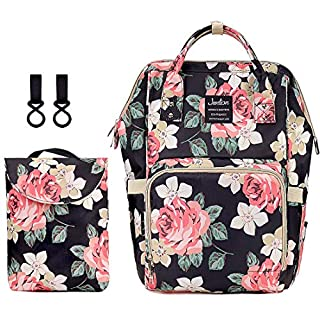 Proboths Floral Baby Bag Diaper Bag Backpack Large Capacity Women Waterproof Nappy Bag for Baby Care Black