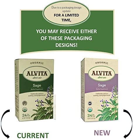 Alvita Organic Sage Herbal Tea - Made with Premium Quality Organic Sage Leaves, And Peppery Fragrance with Mild Astringent Flavor, 24 Tea Bags