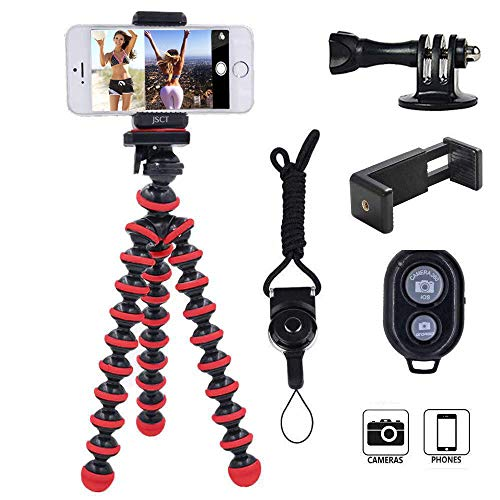 JSCT Tripod, Premium Phone Tripod,Portable and Flexible with Wireless Remote Shutter and Compatible for iPhone, Android…