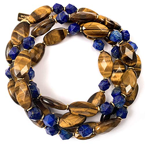 Tiger's Eye and Lapis Lazuli Strand Necklace - 33 Inches Long Handmade Double Wrap Necklace by Miller Mae Designs - Geometric Eye Tigers Necklace